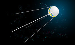 Space satellite. Vector illustration of satellite in space with shining blue stars Stock Photography