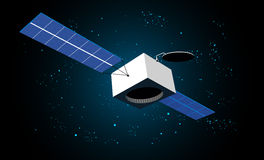 Space satellite. Vector illustration of satellite in space with shining blue stars Stock Photos