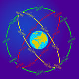 Space satellites in eccentric orbits around the. Earth Royalty Free Stock Photo