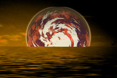 Space scenario. With water reflection Royalty Free Stock Images