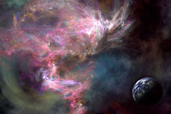 Space scenario. Galaxy background, Earth in the front. Designed in PS Royalty Free Stock Image