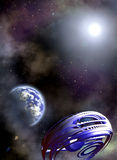 Space scenario. Abstract fantastic Space ship and the Earth in the Space Royalty Free Stock Photography
