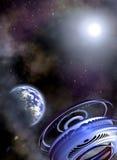 Space scenario vector illustration
