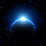 Space Scene. Space background with planet and shining sun, illustration Stock Image