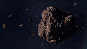 Space scene with asteroids Stock Image