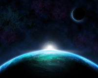 Space scene background. With fictional planets Royalty Free Stock Photos