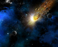 Space scene background with meteorites Royalty Free Stock Photos