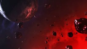 Space scene - background video. Planet, meteorites, asteroids in motion stock illustration