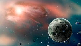 Space scene. Blue and blue nebula with planet and asteroids. Ele. Ments furnished by NASA. 3D rendering. Illustration royalty free illustration