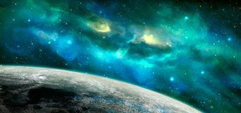 Space scene. Blue and green nebula with planet. Elements furnish. Ed by NASA. 3D rendering, illustration Royalty Free Illustration