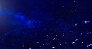 Space scene. Blue nebula with asteroids. Elements furnished by N. ASA. 3D rendering. Illustration Stock Illustration
