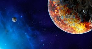 Space scene. Blue nebula with destroyed planet. Elements furnish. Ed by NASA. 3D rendering. Illustration Stock Illustration