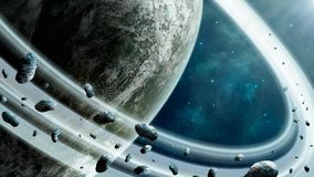Space scene. Blue nebula with planet, asteroids and planetary ri. Ng. Elements furnished by NASA. 3D rendering royalty free illustration
