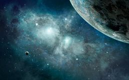 Space scene. Blue nebula with planet. Elements furnished by NASA. 3D rendering, illustration Stock Photo