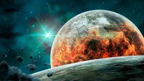 Space scene. Blue nebula with planet in fire and asteroids. Elem. Ents furnished by NASA. 3D rendering vector illustration