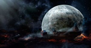 Space scene. Blue nebula with planet, spaceship and lava land. E. Lements furnished by NASA. 3D rendering. Illustration Vector Illustration