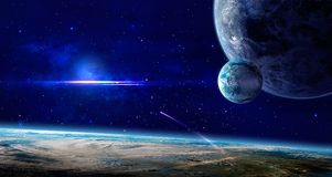 Space scene. Blue nebula with three planet. Elements furnished b. Y NASA. 3D rendering. Illustration Stock Illustration