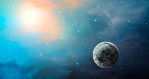 Space scene. Blue and orange nebula with planet. Elements furnis. Hed by NASA. 3D rendering. Illustration Vector Illustration