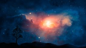 Space scene. Blue and orange nebula with planet land silhouette. Elements furnished by NASA. 3D rendering stock illustration