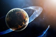 Space scene. Blue and orange soft nebula with planet, planetary. Ring and spaceship. Elements furnished by NASA. 3D rendering, illustration Vector Illustration