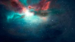 Space scene. Blue and red nebula. Elements furnished by NASA. 3D. Rendering. Illustration Stock Illustration