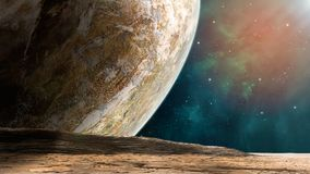 Space scene. Coloful nebula with planet and land. Elements furni. Shed by NASA. 3D rendering vector illustration