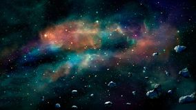 Space scene. Colorful nebula with asteroids. Elements furnished. By NASA. 3D rendering royalty free illustration