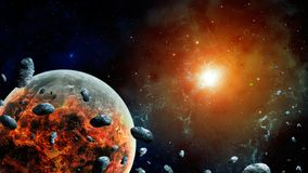 Space scene.Colorful nebula with destroyed planet and asteroid. Elements furnished by NASA. 3D rendering.  royalty free illustration
