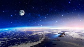 Space scene. Colorful nebula with earth planet, moon and spaceship. Elements furnished by NASA. 3D rendering.  stock illustration