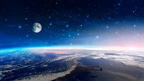 Space scene. Colorful nebula with earth planet and moon with stars. Elements furnished by NASA. 3D rendering.  stock photos