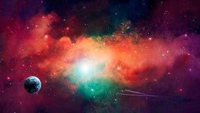 Space scene. Colorful nebula with Earth planet and spaceships. E. Lements furnished by NASA. 3D rendering stock illustration