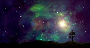 Space scene.Colorful nebula with land and small planet. Elements. Furnished by NASA. 3D rendering. Illustration Stock Photo