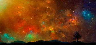 Space scene.Colorful nebula with land and tree silhouette. Eleme. Nts furnished by NASA. 3D rendering. Illustration Stock Photography