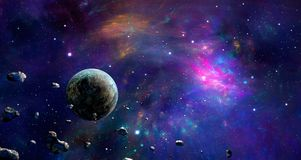 Space scene. Colorful nebula with planet and asteroids. Elements. Furnished by NASA. 3D rendering. Illustration royalty free illustration