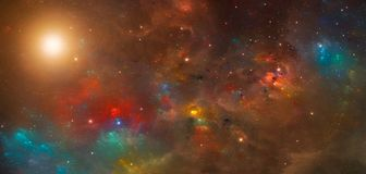 Space scene. Colorful nebula with Sun. Elements furnished by NAS. A. 3D rendering, illustration Stock Images
