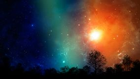 Space scene.Colorful nebula with tree silhouette. Elements furnished by NASA. 3D rendering.  stock photos
