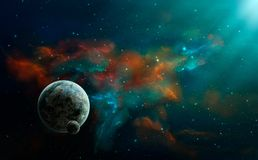 Space scene. Colorful nebula with two planet. Elements furnished. By NASA. 3D rendering vector illustration