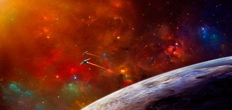 Space scene. Colorful nebula with two spaceship and planet. Elem. Ents furnished by NASA. 3D rendering. Illustration Vector Illustration