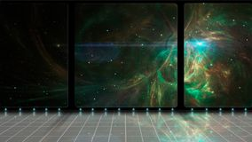 Space scene. 3D Room with green fractal nebula and stars. Elements furnished by NASA. 3D rendering.  royalty free illustration