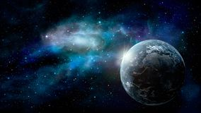 Space scene. Earth planet with blue nebula. Elements furnished b. Y NASA. 3D rendering Stock Illustration