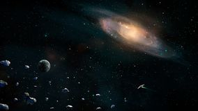 Space scene. Earth planet with galaxy, asteroids and spaceship. Elements furnished by NASA. 3D rendering vector illustration