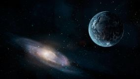 Space scene. Earth planet with galaxy. Elements furnished by NAS. A. 3D rendering stock illustration