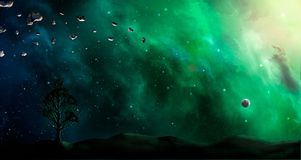 Space scene. Green and blue nebula with land silhouette and tree. Elements furnished by NASA. 3D rendering. Illustration Stock Illustration