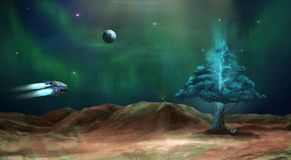 Space scene. Green nebula with planet and energy tree. Elements. Furnished by NASA. 3D rendering, illustration Vector Illustration
