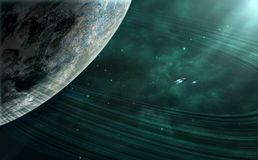Space scene. Green nebula with planet and planetary ring. Elemen. Ts furnished by NASA. 3D rendering, illustration Stock Photography