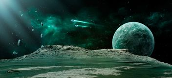 Space scene. Green nebula with planet, spaceships and meteorits. Elements furnished by NASA. 3D rendering, illustration Vector Illustration