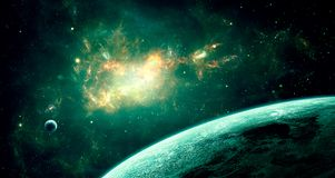 Space scene. Green nebula with two planet. Elements furnished by. NASA. 3D rendering. Illustration Stock Illustration