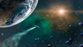 Space scene. Green and orange nebula with earth planet, spaceshi. P and asteroids. Elements furnished by NASA. 3D rendering stock illustration