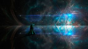 Space scene. Magician in fractal nebula on reflection land. Elements furnished by NASA. 3D rendering.  royalty free illustration