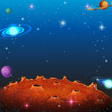 Space scene with many planets Stock Photo
